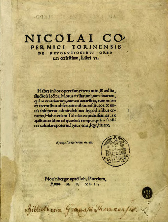 De revolutionibus orbium coelestium (On the Revolutions of the Heavenly Spheres) is the seminal work on the heliocentric theory of the Renaissance astronomer Nicolaus Copernicus (1473–1543). The book, first printed in 1543 in Nuremberg, Holy Roman Empire, offered an alternative model of the universe to Ptolemy's geocentric system, which had been widely accepted since ancient times. (Wikipedia)
