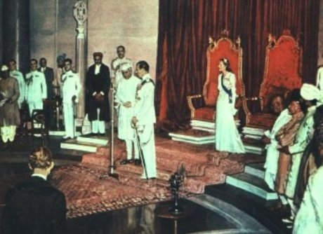 The formal transfer of power from British to Indian rule in India.