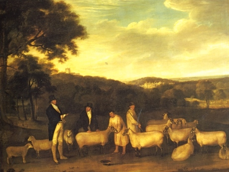 Portrait of Thomas William Coke, Esq. (1752-1842) inspecting some of his South Down sheep with Mr Walton and the Holkham shepherds Thomas Weaver (1774-1843) / © Collection of the Earl of Leicester, Holkham Hall, Norfolk