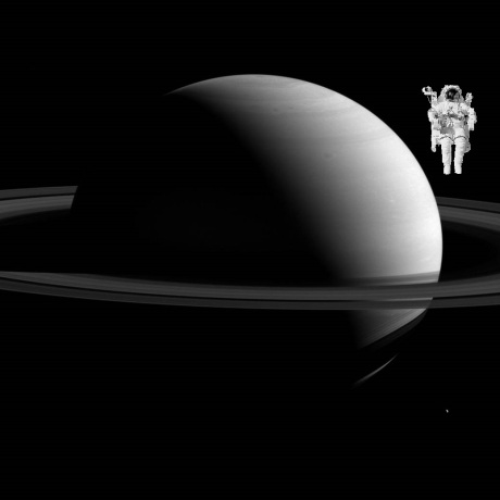 Saturn with astronaut
