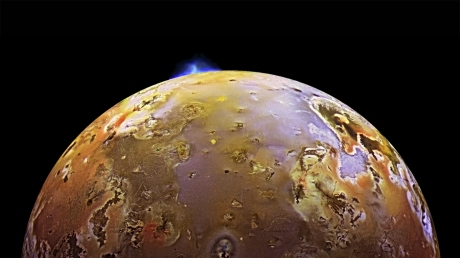 'Io is the most volcanically active body in the solar system. At 2,263 miles in diameter, it is slightly larger than Earth's moon.' (NASA)