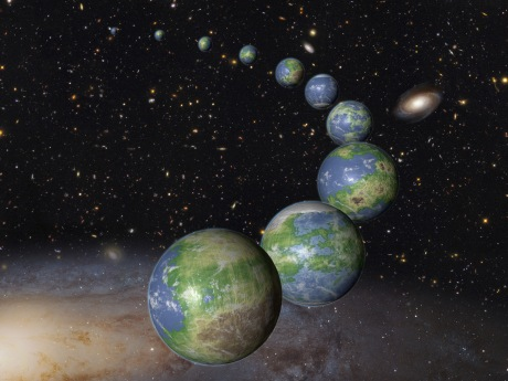 'This is an artist's impression of innumerable Earth-like planets that have yet to be born over the next trillion years in the evolving universe.' Credits for image and text: NASA, ESA, and G. Bacon (STScI)
