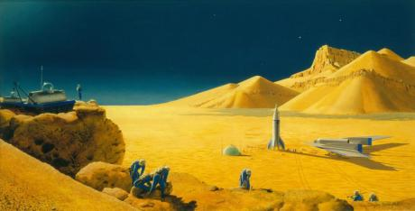 Wernher von Braun's Mars mission concept as imagined by Chesley Bonestell