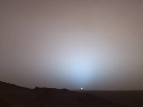 A sunset on Mars photographed by NASA's Mars Exploration Rover Spirit