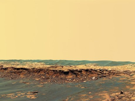 Panoramic view of the Payson outcrop near the Opportunity rover's landing site.  (NASA/JPL-Caltech/USGS/Cornell)