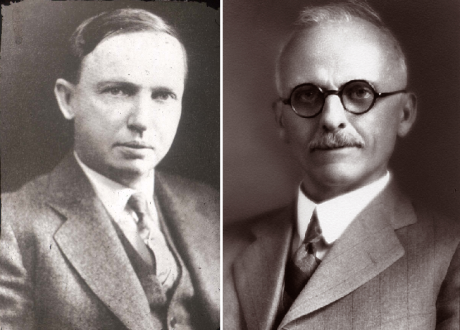 Harlow Shapley (left) and Heber Curtis (right) debated the structure and size of the universe in a famous confrontation in 1920.