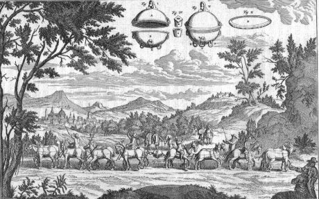 Illustrations from the early scientific revolution bear the stamp of an earlier and other civilization, as in this image, in which as much time has been spent on the trees and the clouds as the scientific experiment itself.