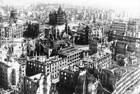 Dresden after the Allied air raid that destroyed the city.