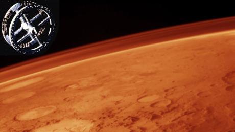 An artificial habitat orbiting Mars.