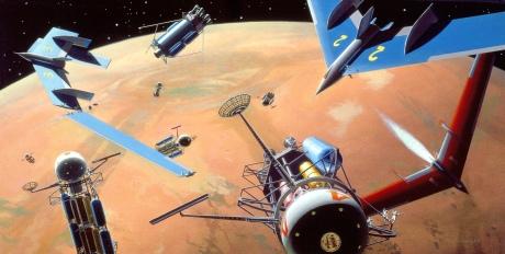Wernher von Braun's mission design for Mars involved re-configuring spacecraft in Mars orbit for descent to the surface.