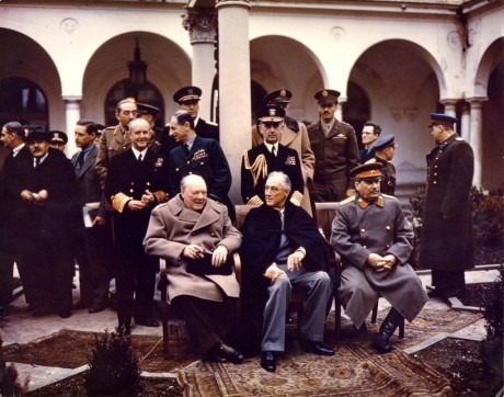 Churchill, Roosevelt, and Stalin at the Yalta Conference in February 1945.