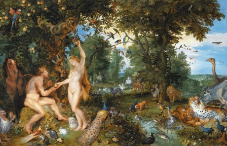 Even our mythologies have involved the close association of human beings with fellow biological beings, as in this depiction of the earthly paradise. ('The garden of Eden with the fall of man,' Peter Paul Rubens and Jan Brueghel the Elder, 1615)