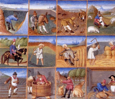 Twelve months down on the farm. An illustration from Liber ruralium commodorum, by Pietro de' Crescenzi; for a description of the tasks illustrated cf. http://www.medievalists.net/2014/06/03/year-medieval-farm/