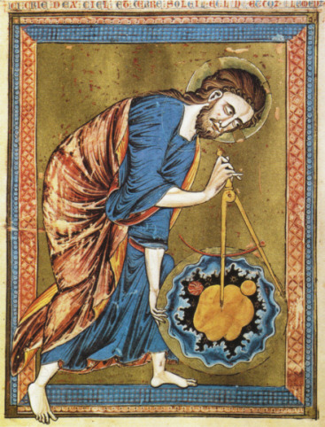 The imaginative background of Ptolemaic cosmology; an image of God as architect from a Moralized Bible, folio 1 verso, Österreichische Nationalbibliothek, Vienna.