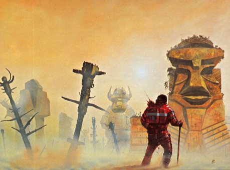 'Anywhen' by Chris Foss perfectly expresses the mystery and adventure of exploration. Perhaps some day in the far future, the study of civilization will be an adventure science in which such exploration takes a central role.